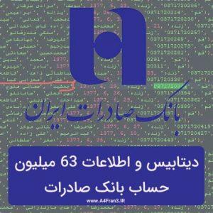 دیتابیس و اطلاعات 63 میلیون حساب بانک صادرات