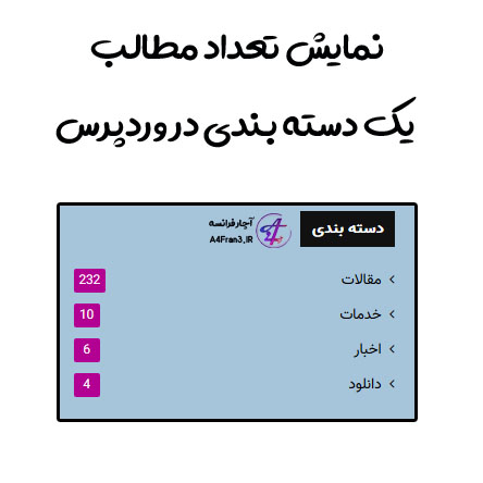 نمایش تعداد مطالب یک دسته بندی در وردپرس