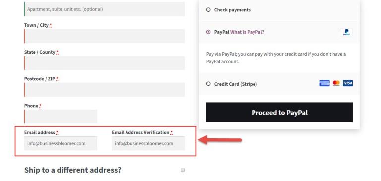 فیلد تایید آدرس ایمیل
