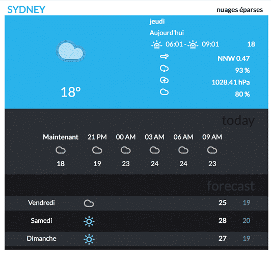 نمایش وضعیت آب و هوا