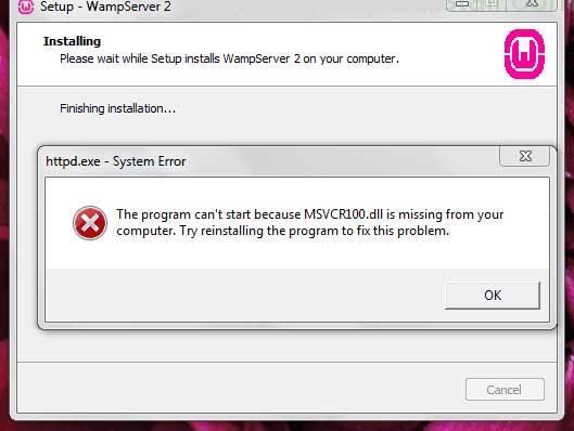 رفع خطای MSVCR100.dll