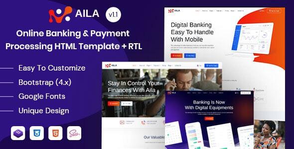 دانلود قالب HTML بانکداری Aila