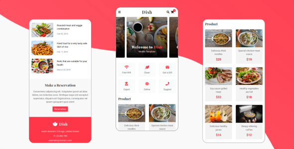 دانلود قالب HTML موبایلی Dish