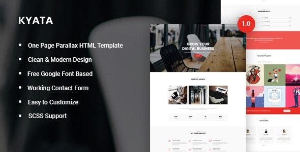 دانلود قالب HTML تک صفحه Kyata