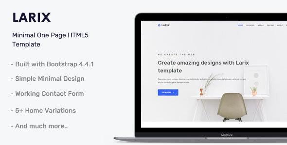دانلود قالب HTML تک صفحه ای Larix