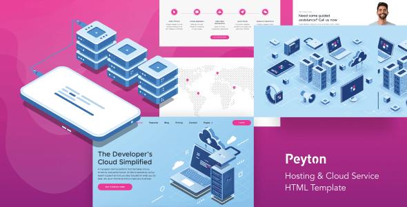 دانلود قالب HTML میزبانی ابری Peyton