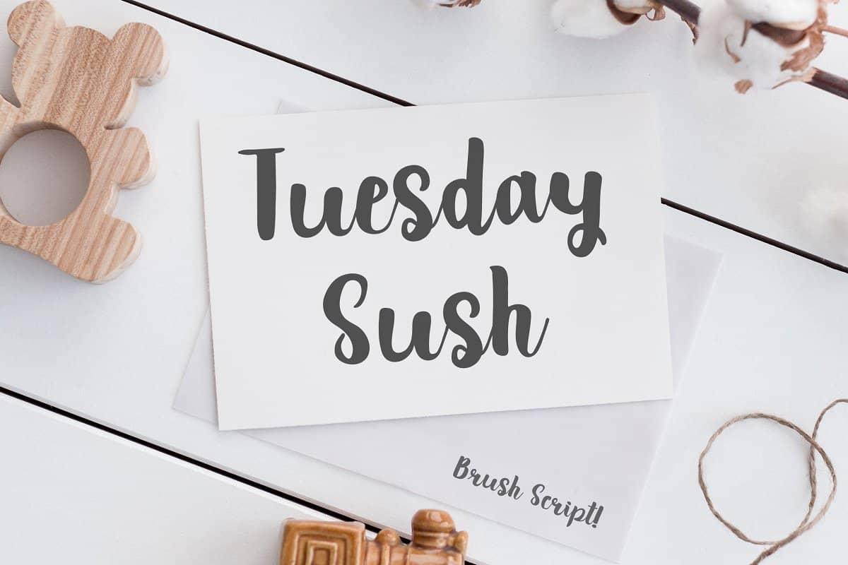 دانلود فونت تیوزدی ساش Tuesday Sush