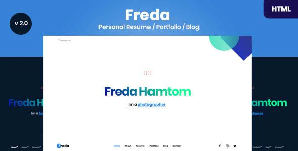 دانلود قالب HTML نمونه کار و رزومه Freda