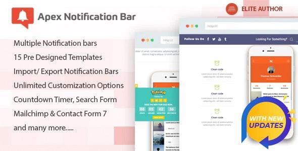 دانلود افزونه وردپرس نوتیفیکیشن Apex Notification Bar