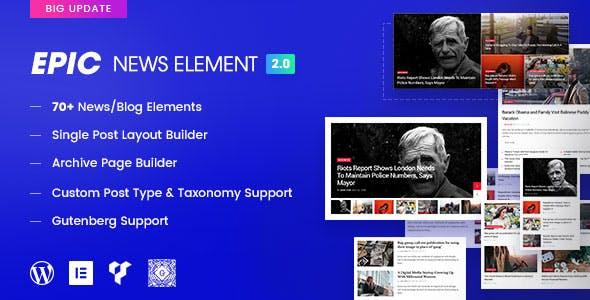 دانلود افزونه وردپرس اپیک نیوز المنت Epic News Elements