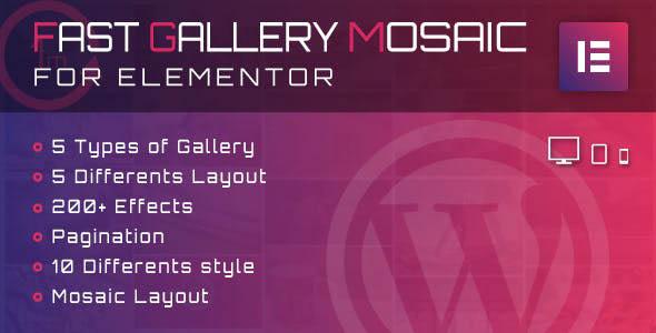 دانلود افزونه وردپرس گالری Fast Gallery Mosaic برای المنتور