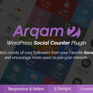 دانلود افزونه وردپرس شمارنده شبکه های اجتماعی Arqam