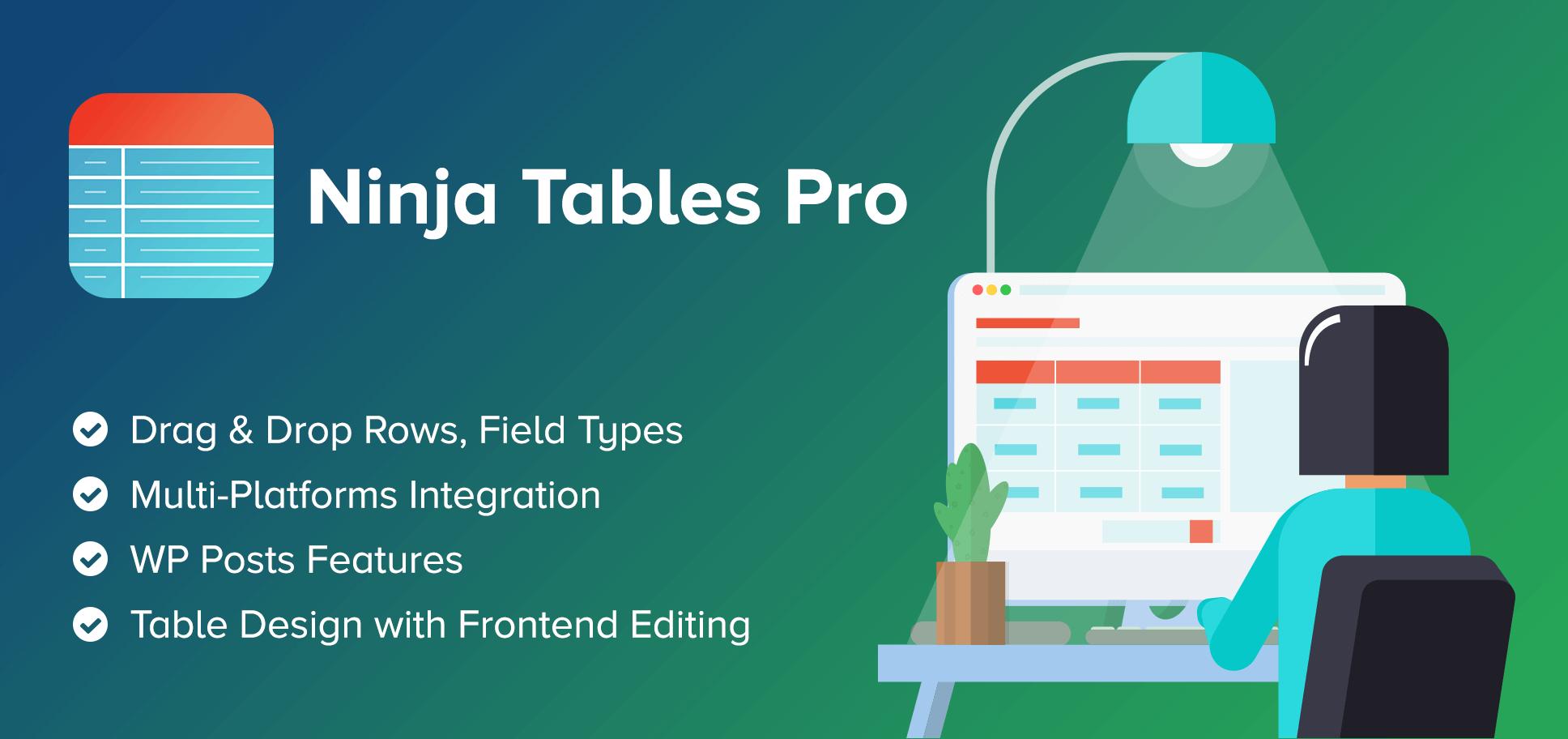 دانلود افزونه وردپرس جداول اطلاعاتی Ninja Tables Pro