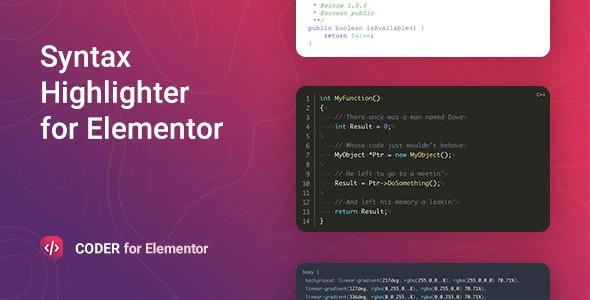 دانلود افزونه وردپرس نمایش کد Coder برای المنتور