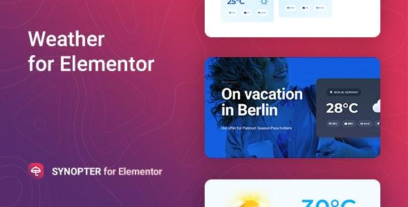 دانلود افزونه وردپرس پیش بینی آب و هوا Synopter برای المنتور