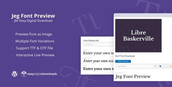 دانلود افزونه وردپرس Jeg Font Preview برای Easy Digital Downloads