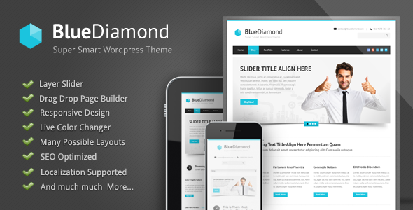 دانلود قالب وردپرس شرکتی Blue Diamond