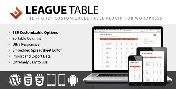 دانلود افزونه وردپرس ایجاد جدول League Table