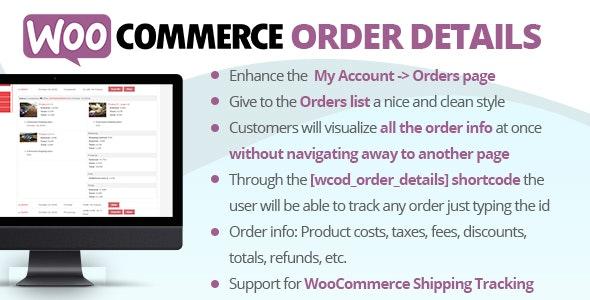 دانلود افزونه ووکامرس جزئیات سفارش WooCommerce Order Details