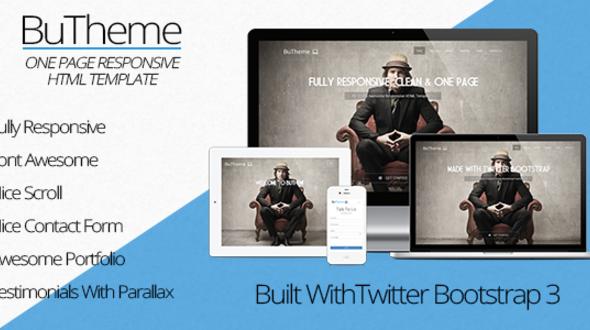 دانلود قالب HTML سایت BuTheme – One Page Responsive Bootstrap Theme