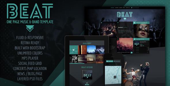 دانلود قالب HTML تک صفحه ای Beat