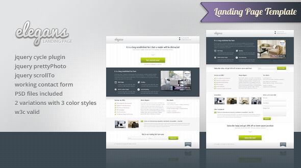 دانلود قالب HTML سایت Elegans Landing Page