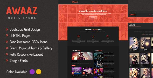 دانلود قالب HTML موزیک Awaaz Music