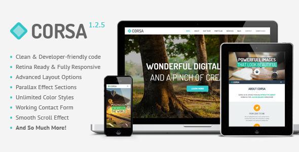 دانلود قالب HTML تک صفحه ای Corsa