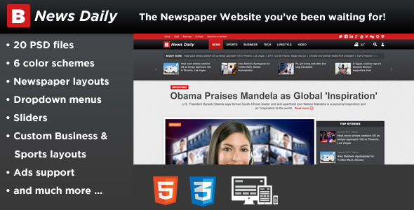 دانلود قالب HTML خبری Breaking News Daily