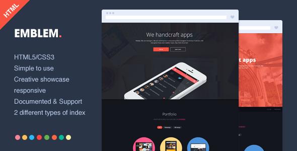 دانلود قالب HTML تک صفحه ای Emblem