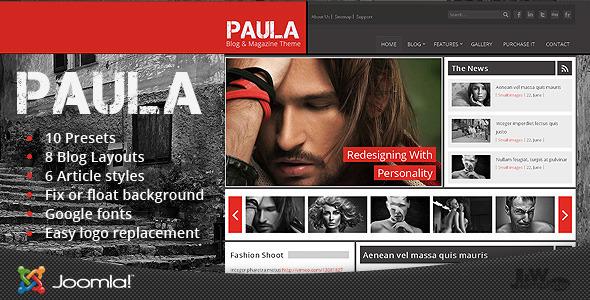 دانلود قالب وبلاگی جوملا Paula