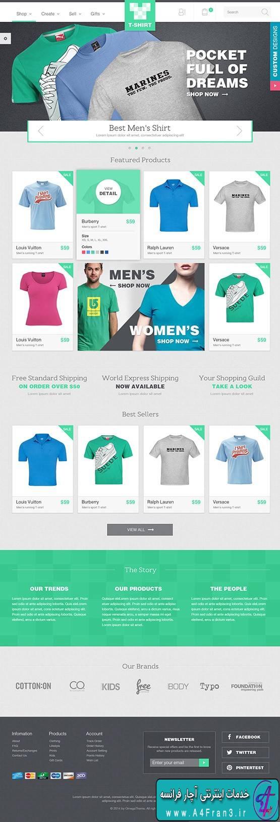 دانلود قالب فروشگاهی جوملا OT Tshirt راست چین