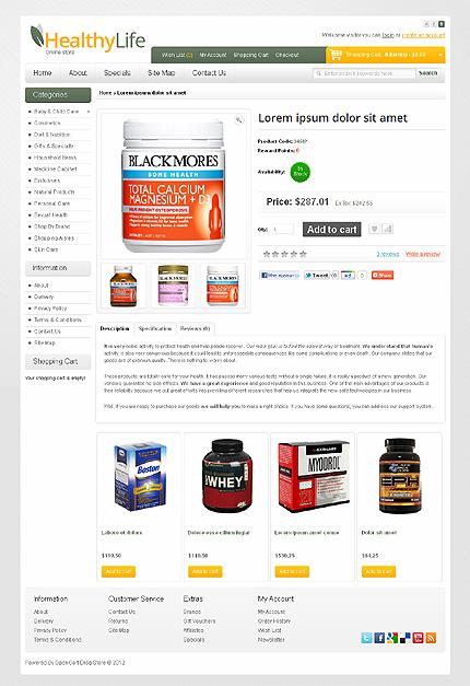 دانلود قالب فروشگاهی اپن کارت Drug Store OpenCart Template 38175