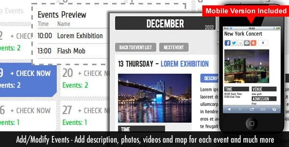 دانلود اسکریپت Events Calendar