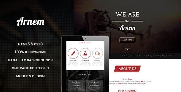 دانلود قالب HTML تک صفحه ای و پارالاکس Arnem