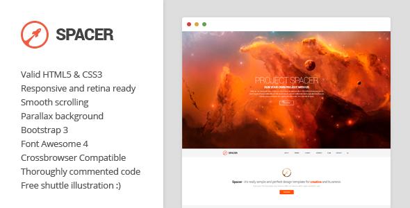 دانلود قالب HTML تک صفحه ای و پارالاکس Spacer