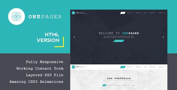 دانلود قالب HTML تک صفحه ای سایت Onepager