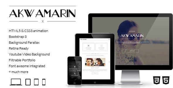 دانلود قالب HTML تک صفحه ای و پارالاکس Akwamarin