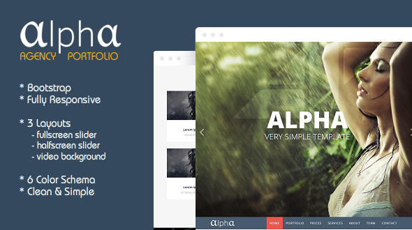 دانلود قالب HTML تک صفحه ای Alpha