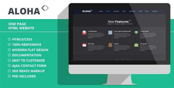 دانلود قالب HTML تک صفحه ای Aloha