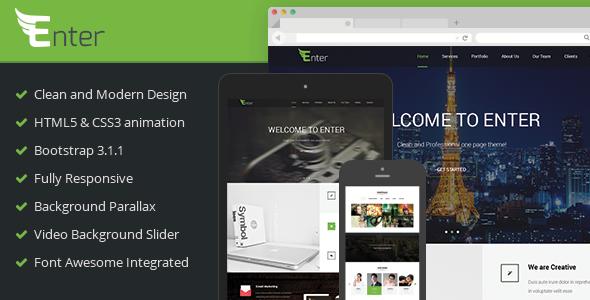 دانلود قالب HTML تک صفحه ای Enter
