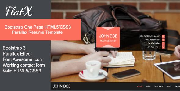 دانلود قالب HTML تک صفحه ای و پارالاکس FlatX