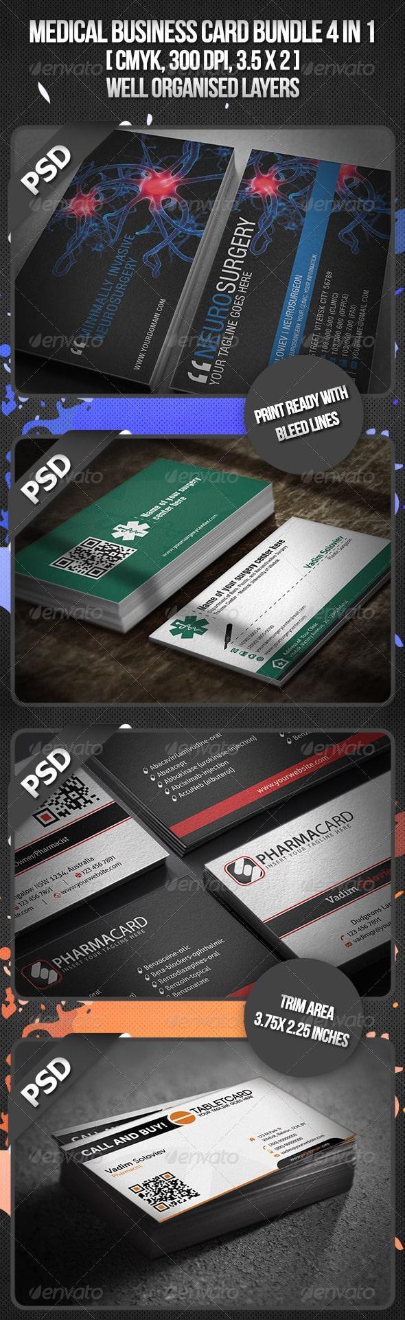 دانلود مجموعه طرح لایه باز کارت ویزیت پزشکی 3614392