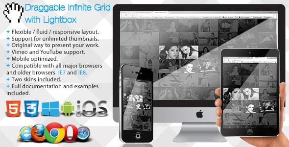 دانلود اسکریپت لایت باکس Draggable Infinite Grid with Lightbox