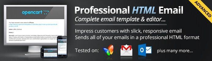 دانلود افزونه اپن کارت قالب ایمیل حرفه ای Advanced Professional Email Template