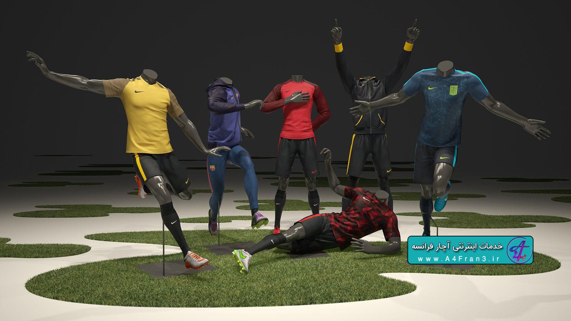 دانلود مدل سه بعدی فوتبال نایکی MALE MANNEQUIN NIKE FOOTBALL