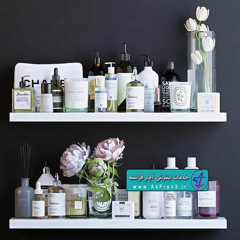 دانلود مدل سه بعدی لوازم آرایشی Shelves with cosmetics