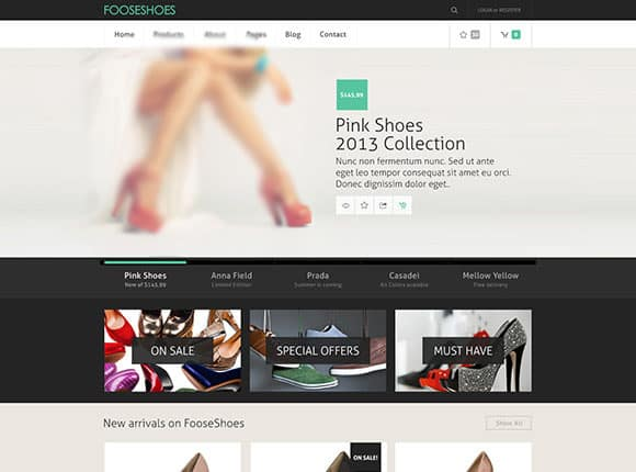 دانلود قالب فتوشاپ سایت فروشگاهی FOOSESHOES