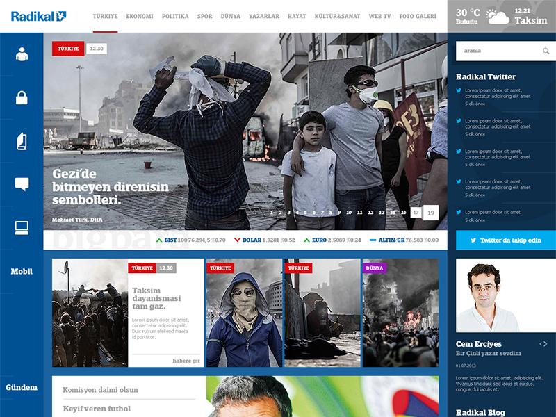 دانلود طرح لایه باز رابط کاربری سایت روزنامه Radikal