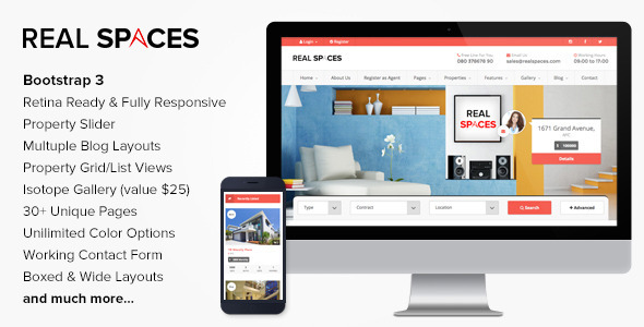 دانلود قالب HTML املاک Real Spaces